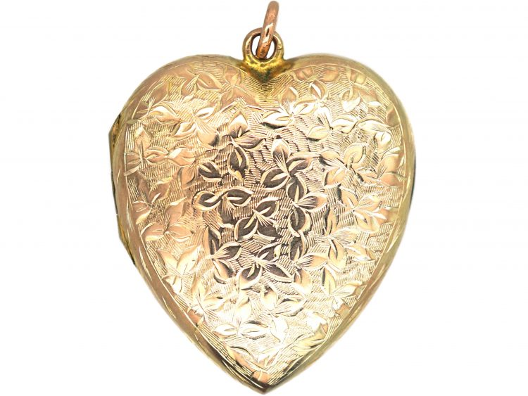 Edwardian 9ct Gold Back & Front Heart Shaped Locket with Engraved Detail