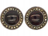 Art Deco Silver, Marcasite & Cabochon Garnet Round Clip On Earrings