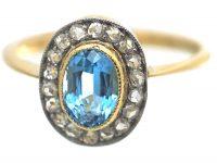 Edwardian 18ct Gold & Platinum, Aquamarine & Rose Diamond Oval Cluster Ring with Millgrain Detail