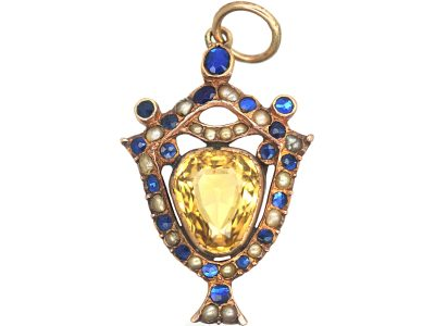 Georgian 9ct Gold Urn Pendant set with a Citrine, Natural Spilt Pearls & Vauxhall Glass