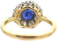 18ct Gold Royal Blue Sapphire & Diamond Cluster Ring