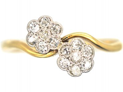 Edwardian 18ct Gold & Platinum, Double Cluster Ring set with Diamonds