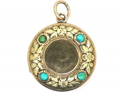 Georgian 15ct Two Colour Gold Round Locket set with Turquoise