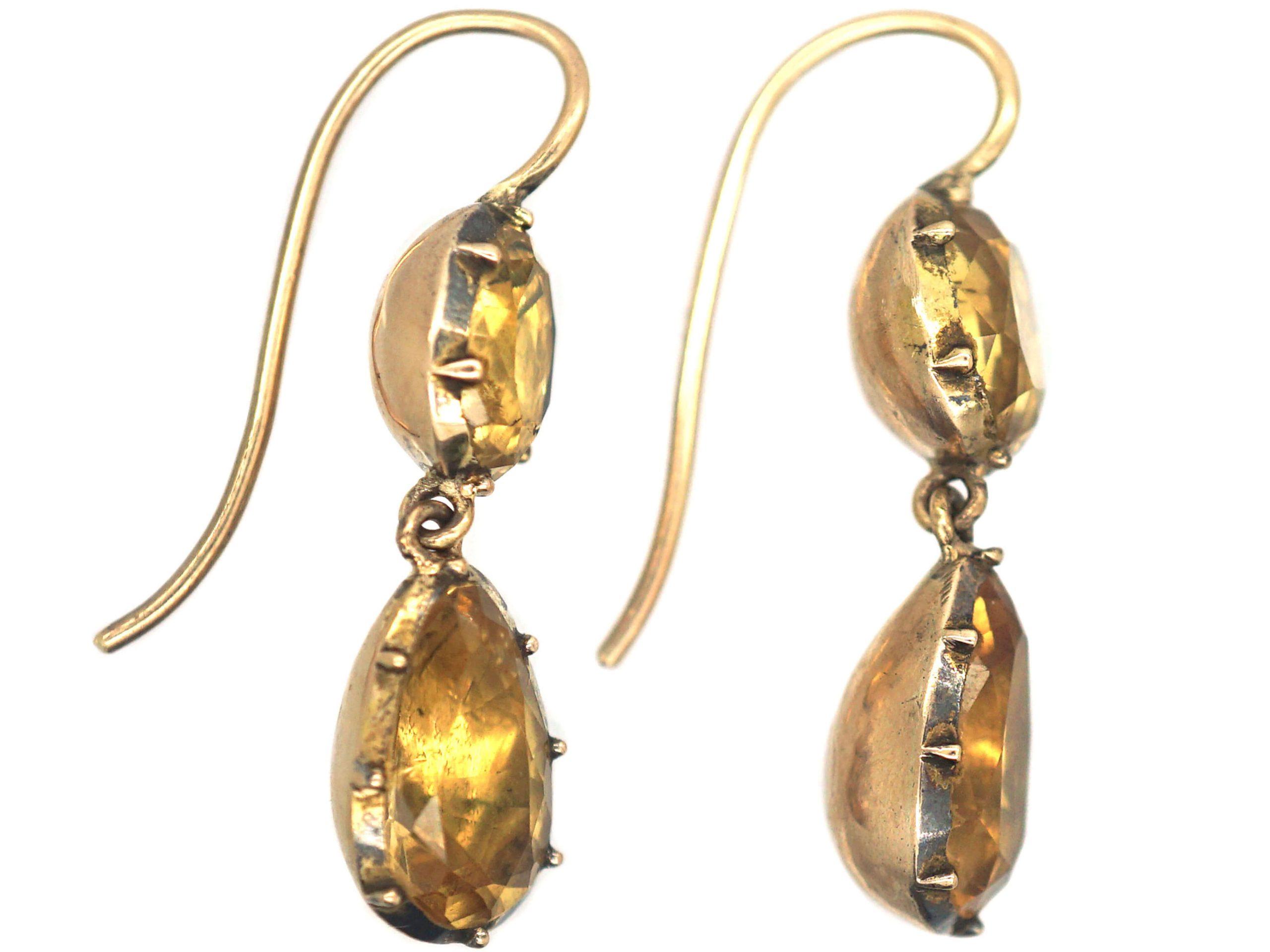 Georgian 9ct Gold & Topaz Drop Earrings