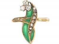 Art Nouveau 18ct Gold Lily of the Valley Ring with Plique a Jour Enamel & Diamonds