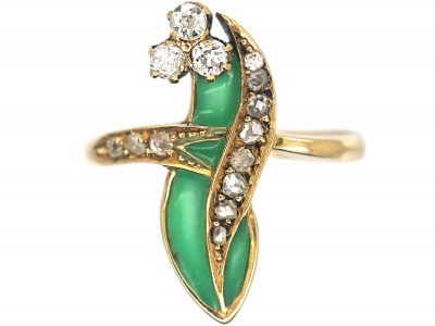 Art Nouveau 18ct Gold Lily of the Valley Ring with Plique a Jour Enamel & Diamonds