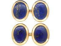 Art Deco 18ct Gold Cufflinks set with Lapis Lazuli