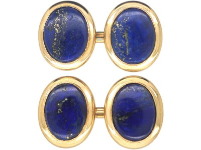 Art Deco 18ct Gold Cufflinks set with Lapis Lazuli