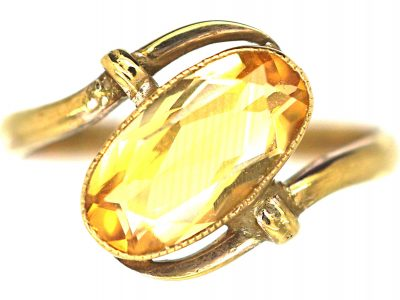 Art Nouveau 9ct Gold Citrine Twist Ring