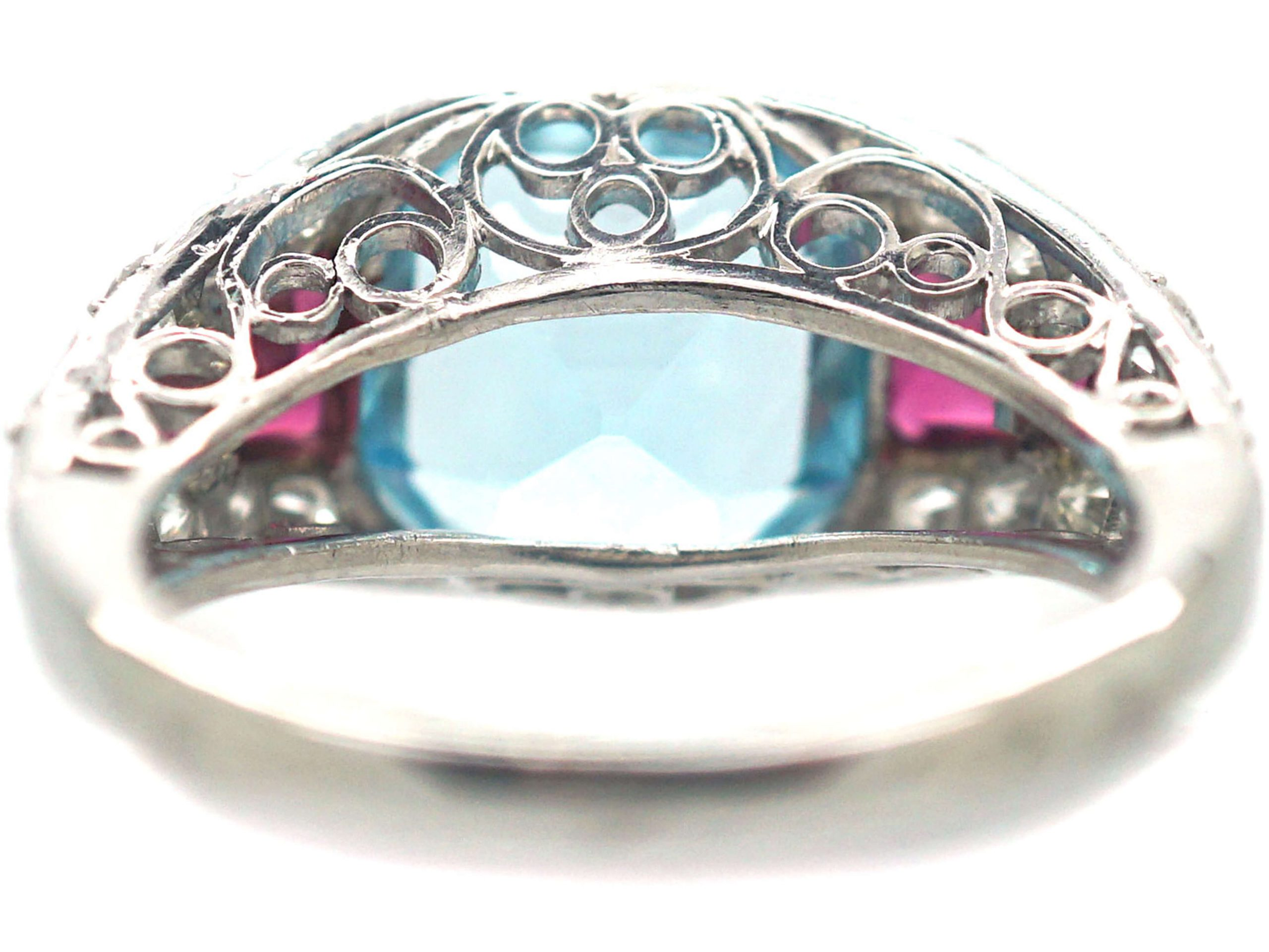 French Art Deco Platinum, Diamond, Aquamarine & Ruby Ring