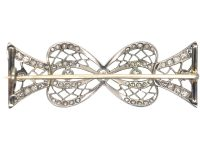 Art Deco Platinum & Diamond Bow Brooch