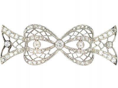 Art Deco Platinum & Diamond Bow Brooch