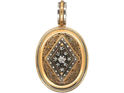 French 18ct Gold & Platinum Oval Shaped Locket set with Natural Split Pearls & Rose Diamonds