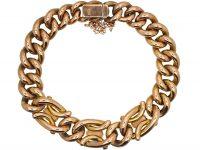 Edwardian 9ct Gold Curb Bracelet set with Three Opals