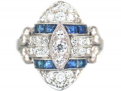 Art Deco Platinum, Diamond & Sapphire Navette Shaped Ring