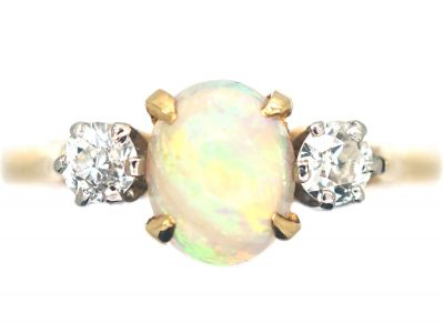 18ct Gold Three Stone Opal & Diamond Ring