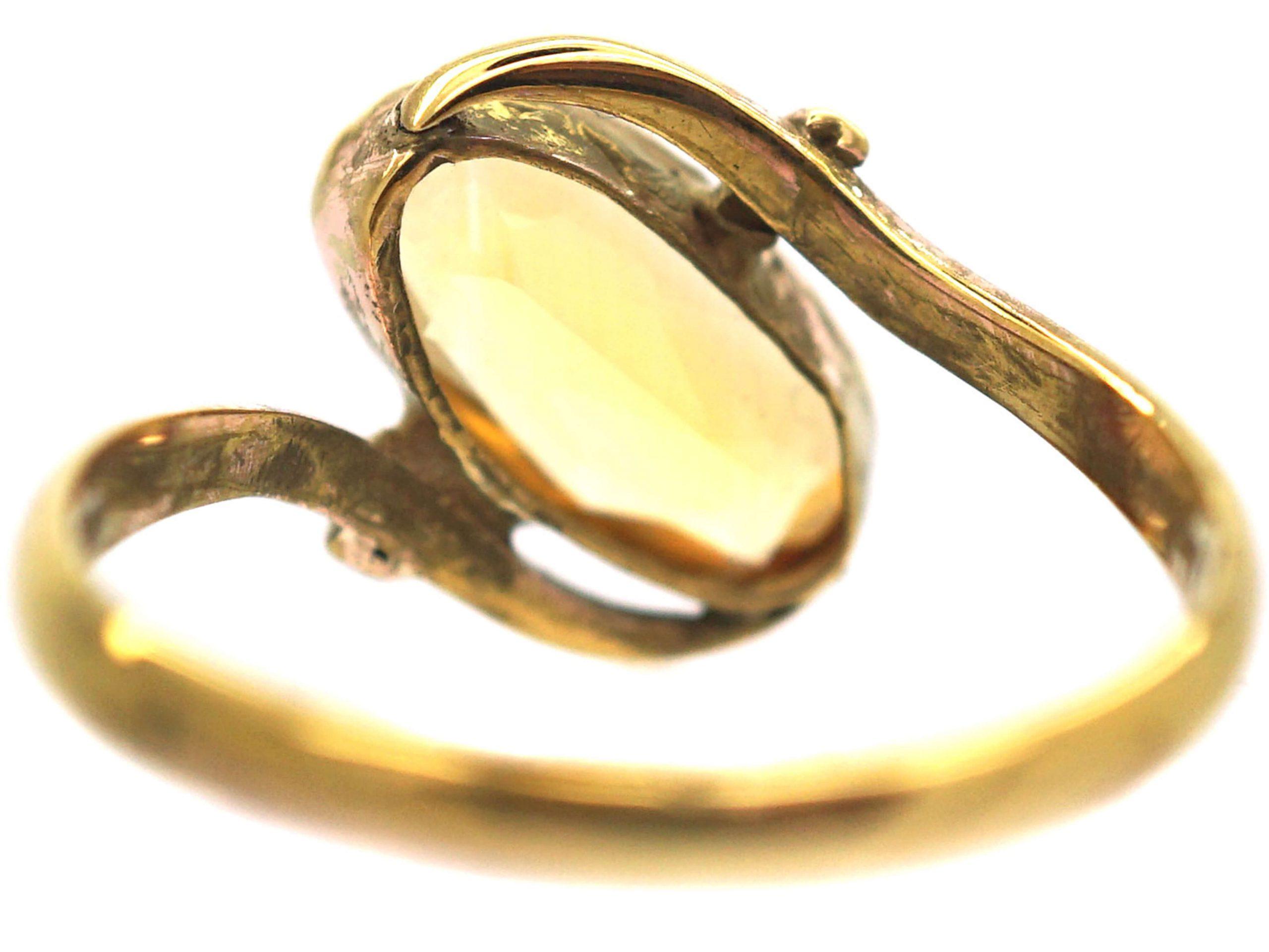 Art Nouveau 9ct Gold Citrine Twist Ring
