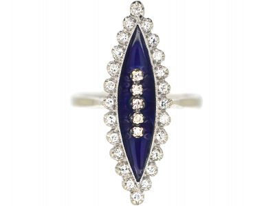 18ct White Gold, Blue Enamel & Diamond Marquise Ring