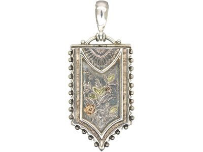 Victorian Silver & Gold Overlay Shield Shaped Locket Engraved with Flowers