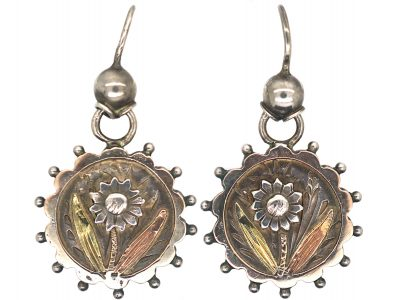 Victorian Aesthetic Period Silver & Gold Overlay Drop Earrings with Flower Motif