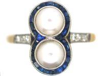 Art Deco 18ct Gold & Platinum, Natural Pearl, Sapphire & Diamond Ring