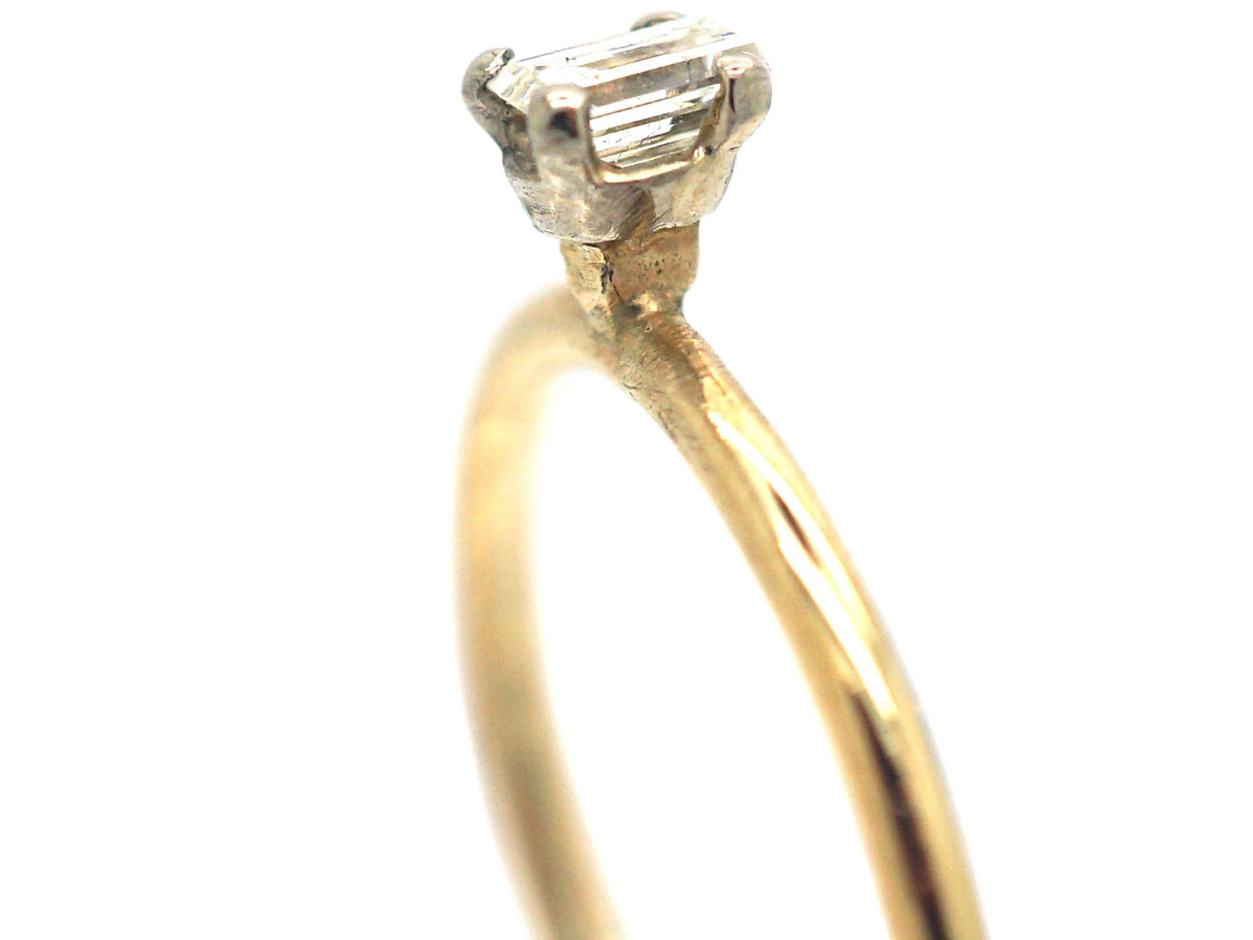 18ct Gold & Baguette Claw Set Diamond Ring