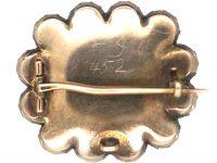 Georgian 9ct Gold Harlequin Gem Set Memorial Brooch