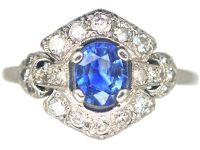 Art Deco Platinum, Sapphire & Diamond Cluster Ring with Ornate Shoulders