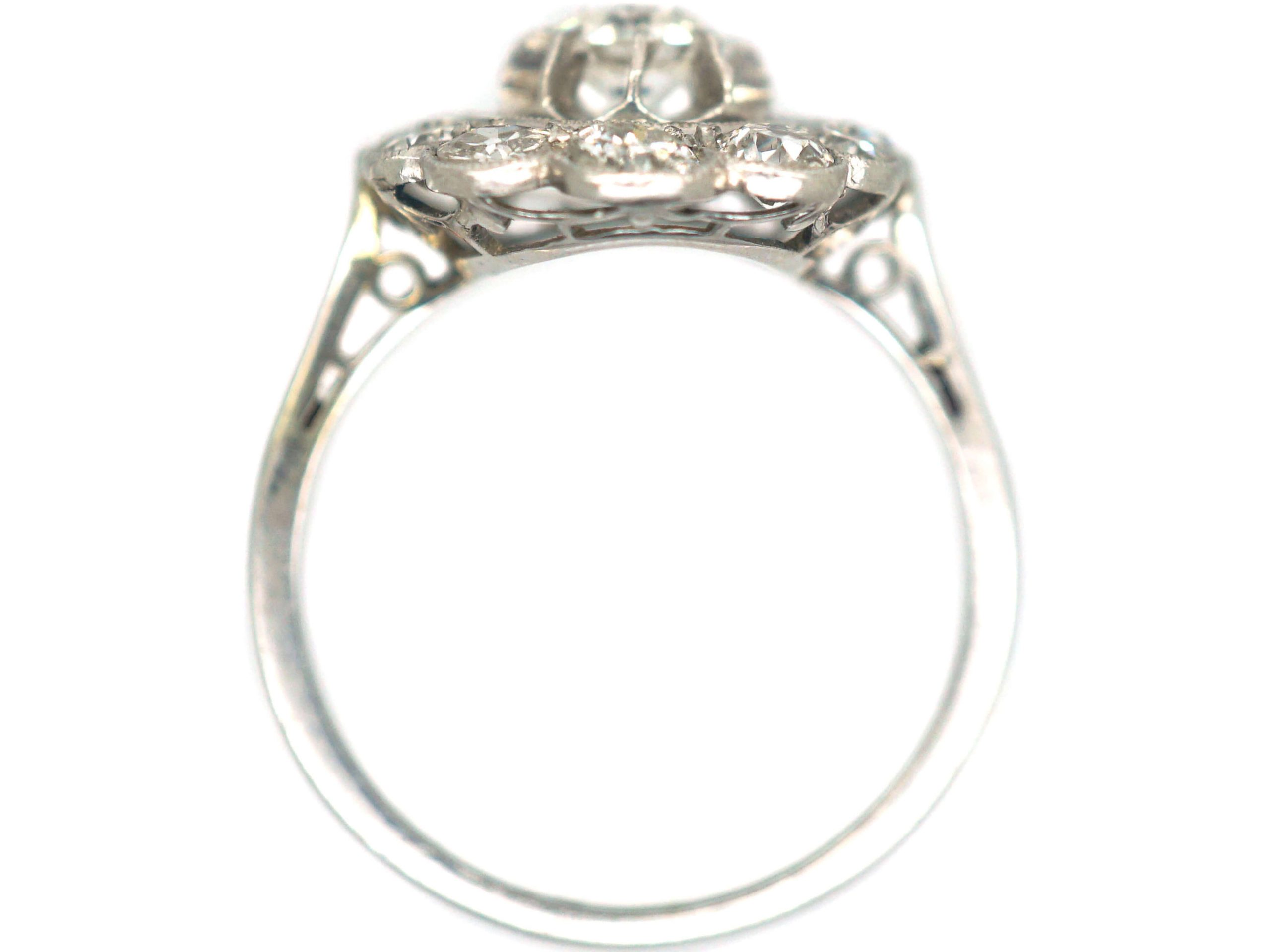 French Art Deco, 18ct White Gold & Diamond Oval Cluster Ring