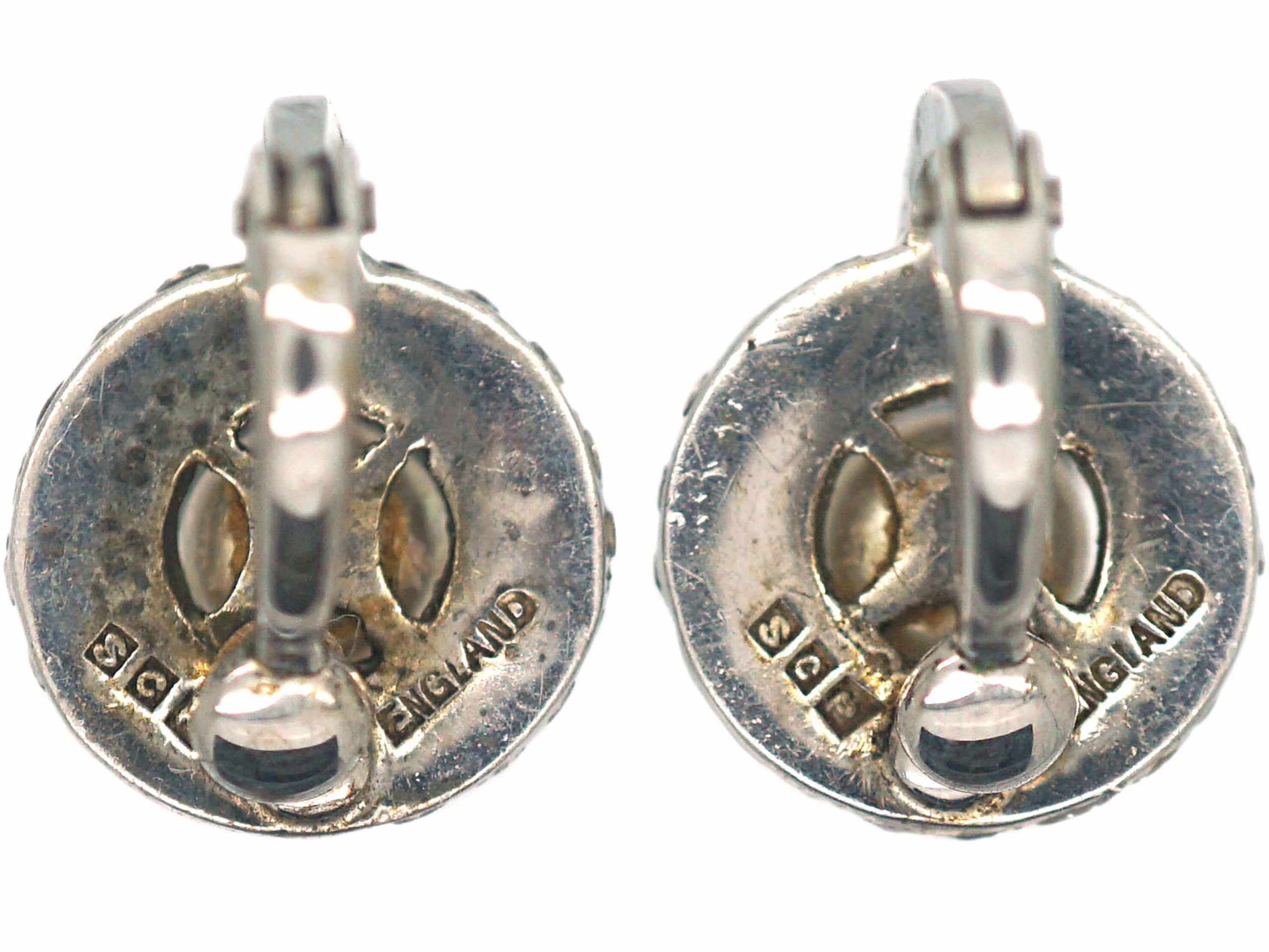 Art Deco Silver, Paste & Faux Pearl Clip On Earrings