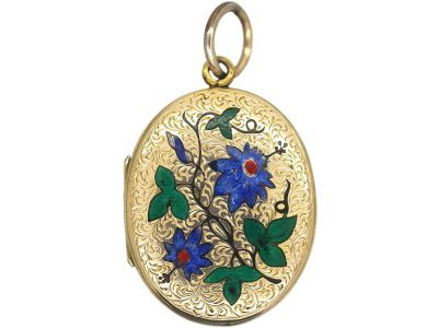 Victorian Oval 9ct Gold Back & Front Locket with Enamelled Passion Flowers