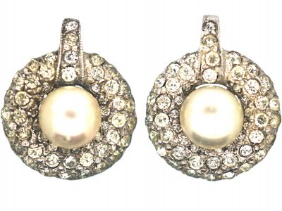 Art Deco Silver, Paste & Faux Pearl Clip On Earrings