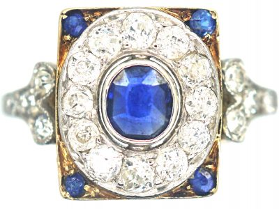 Art Deco 14ct Gold & Platinum, Sapphire & Diamond Rectangular Cluster Ring