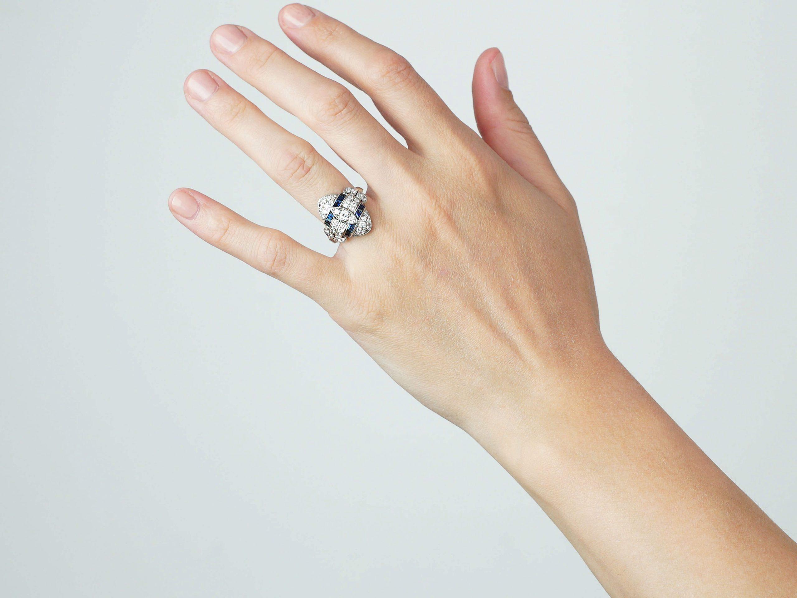 Art Deco Platinum, Diamond & Sapphire Navette Shaped Ring