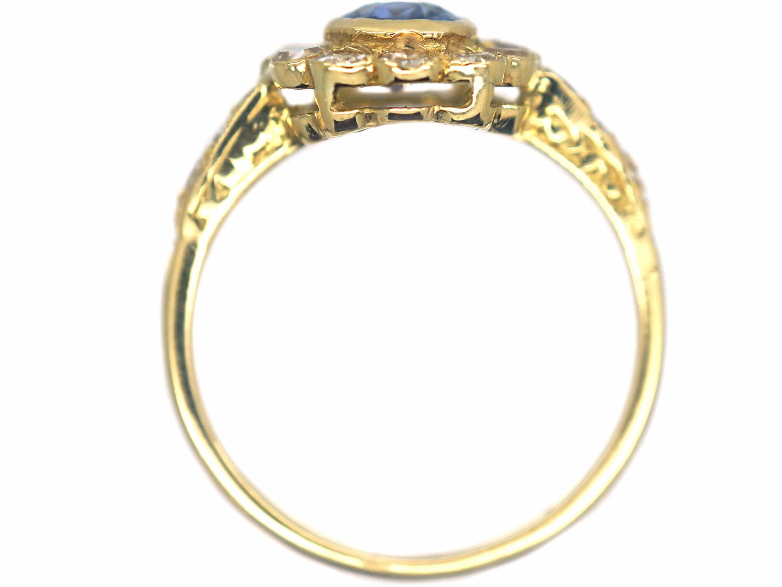 18ct Gold Sapphire & Diamond Cluster Ring with Diamond Set Shoulders