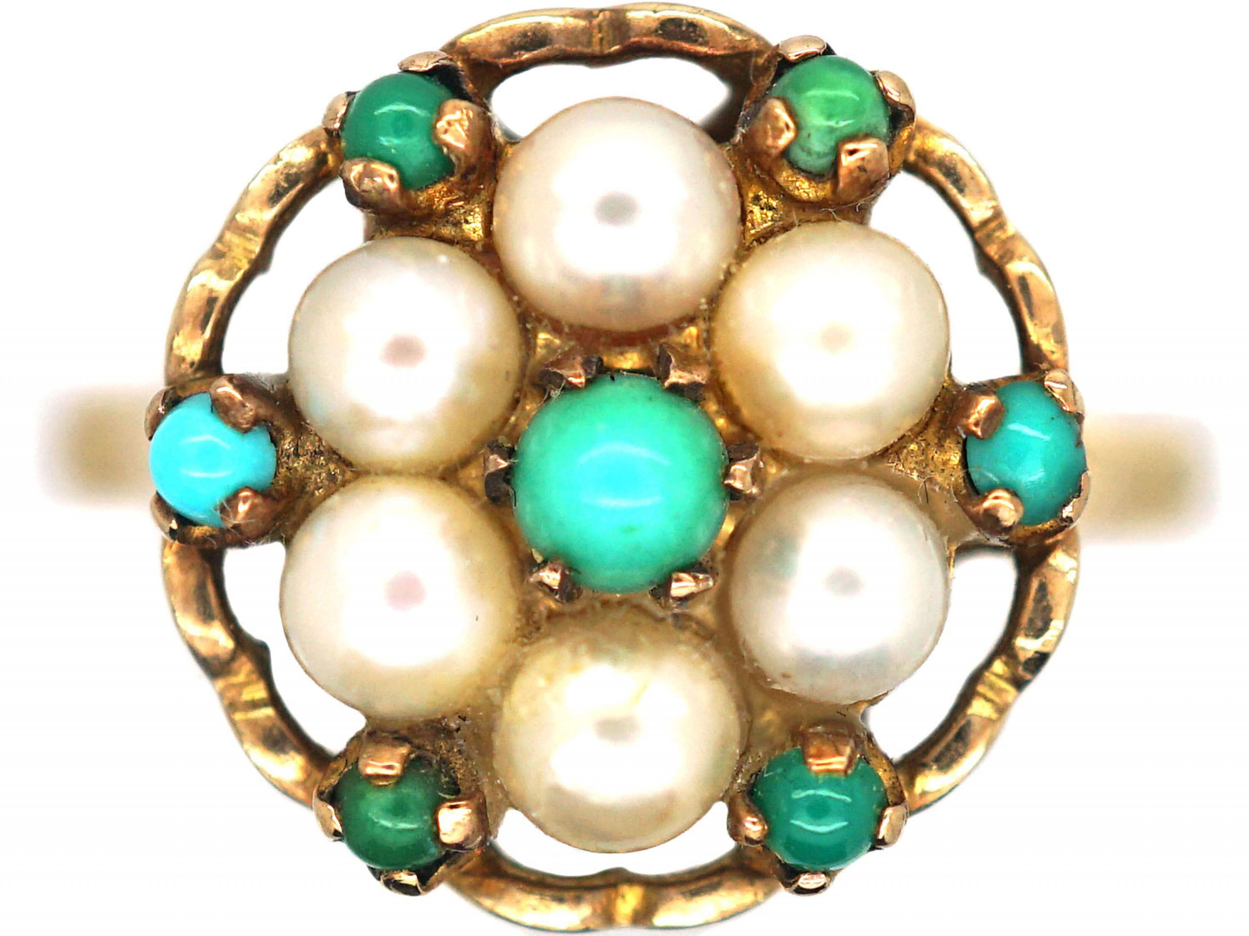 """1960s 9ct Gold Pearl & Turquoise, """"Flower Power"""" Cluster Ring"""
