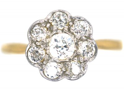 Edwardian 18ct Gold & Platinum Diamond Cluster Ring