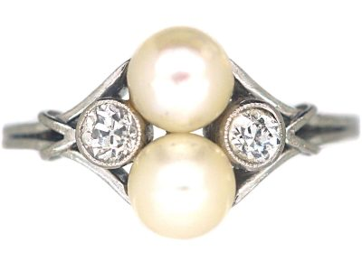 Art Deco Platinum, Natural Pearl & Diamond Ring