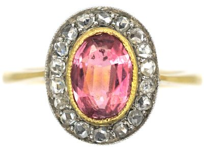 Edwardian 18ct Gold, Pink Tourmaline & Rose Diamond Cluster Ring