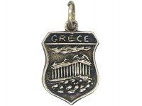 Silver Shield Shaped Grecian Charm