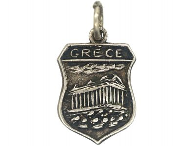 Silver Shield Shaped Grecian Charm