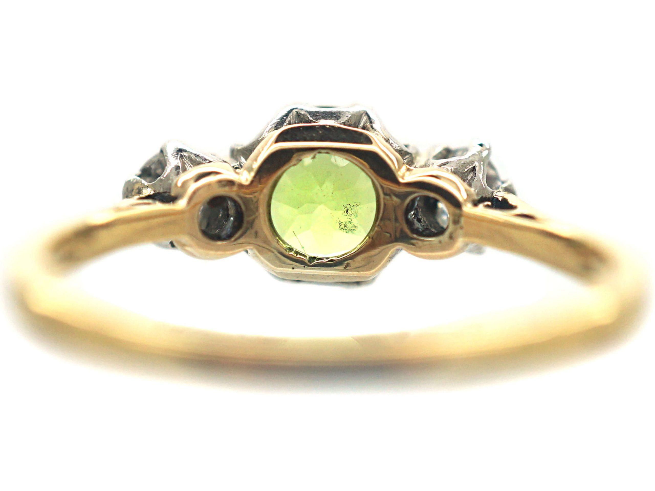 Edwardian 18ct Gold, Peridot & Diamond Three Stone Ring