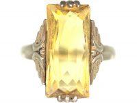 Art Deco Silver & Rectangular Citrine Ring