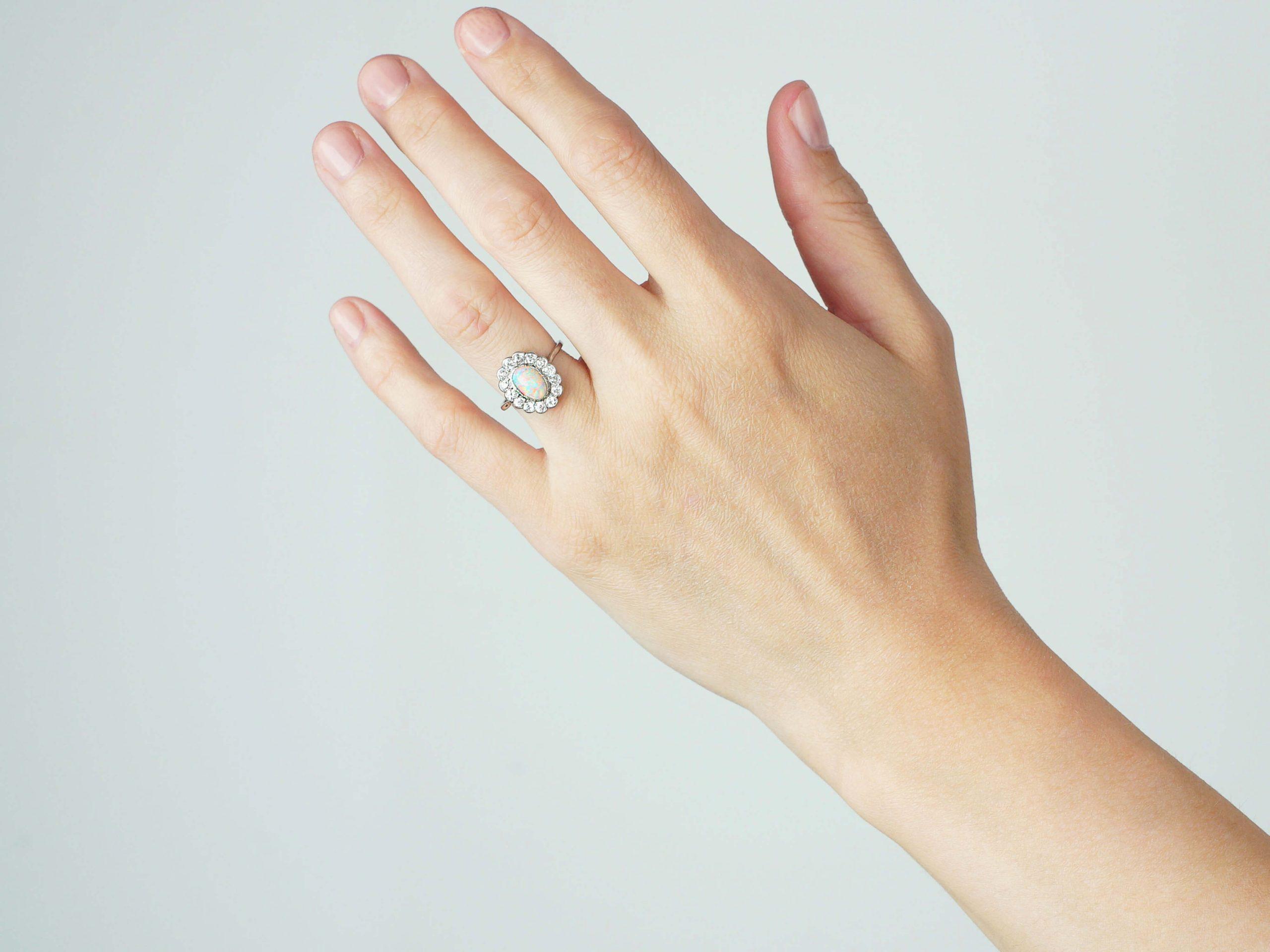 Art Deco Platinum, Opal & Diamond Cluster Ring