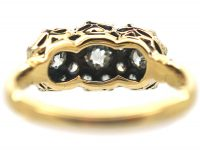 Victorian 18ct Gold & Diamond Triple Cluster Ring