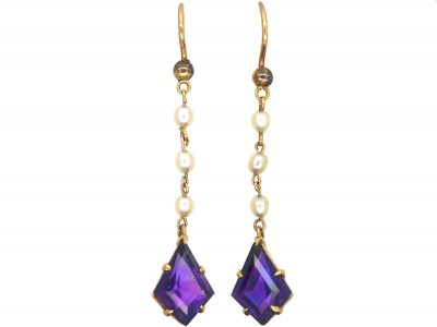 Art Deco 15ct Gold, Kite Shaped Amethyst & Natural Pearl Drop Earrings