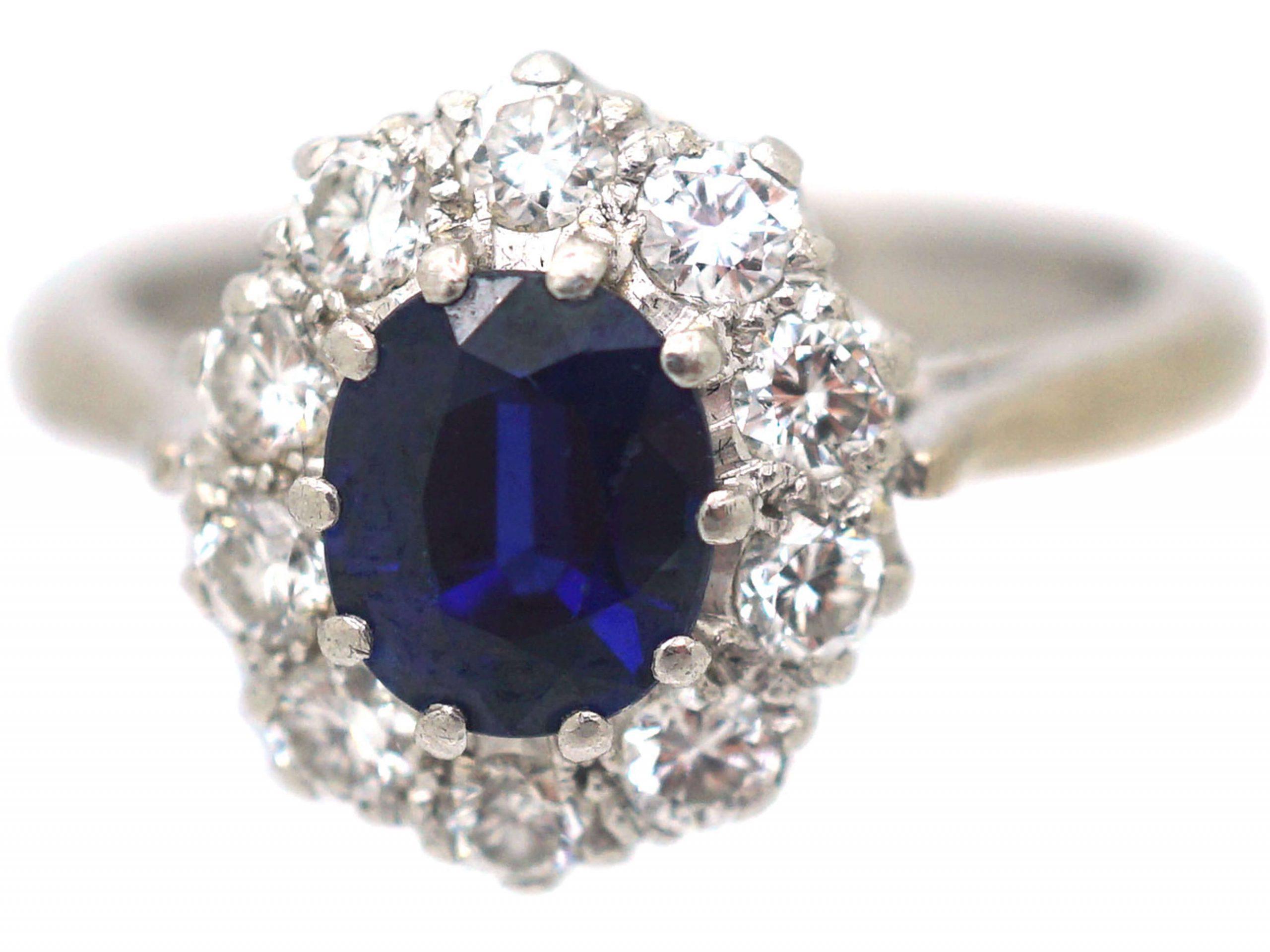 18ct White Gold & Platinum, Sapphire & Diamond Cluster Ring