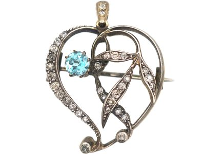 Art Nouveau Witch's Heart Pendant set with an Aquamarine & Diamonds