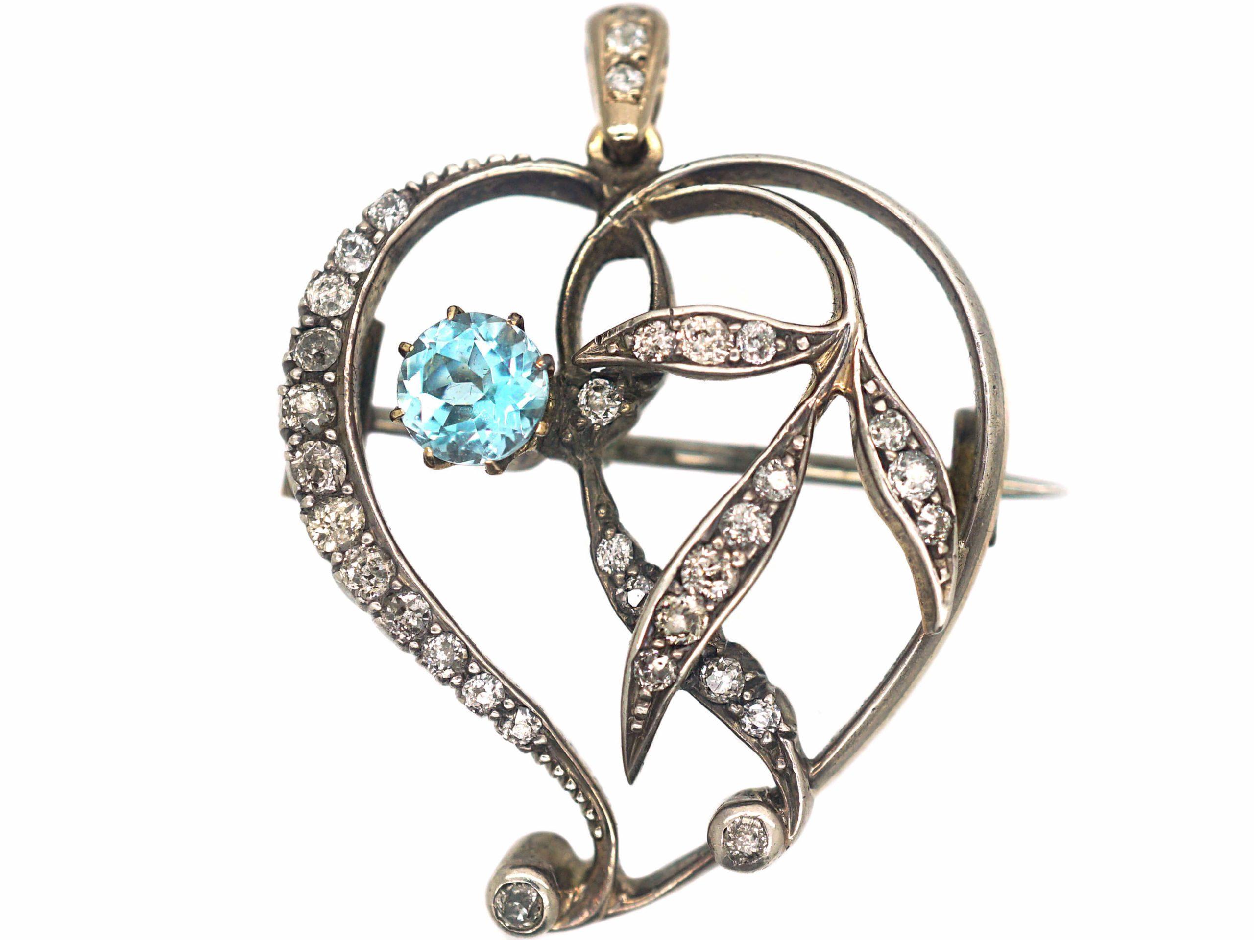 Art Nouveau Witch's Heart Pendant set with an Aquamarine & Diamonds