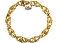 French Belle Epoque Three Colour 18ct Gold Bracelet set with Rubies & Natural Split Pearls